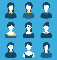 Set female characters front portrait isolated on vector image
