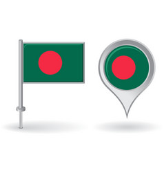 Bangladesh pin icon and map pointer flag vector