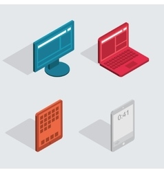 Modern flat icons set computer tablet vector