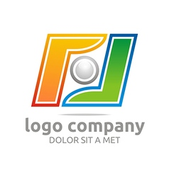 Logo letter f company foot ball circle symbol icon vector
