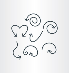 Line spiral curve and circle arrows vector