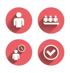 Queue icon person waiting sign check and time vector