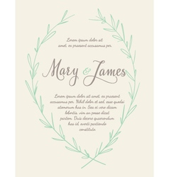 Wedding Invitation with Hand drawn laurel wreaths vector image