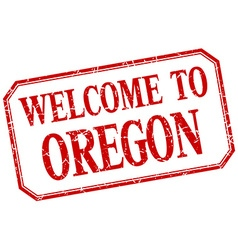 Oregon - welcome red vintage isolated label vector