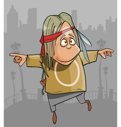 Cartoon funny hippie man jumping in the city vector