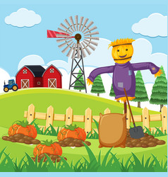 farm scene with pumpkin patch vector image vector image