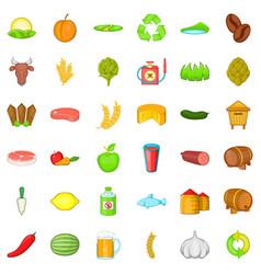 Farm working icons set cartoon style vector