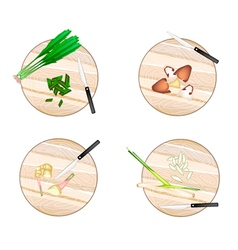 Galangal lemon grass straw mushroomsculantro vector