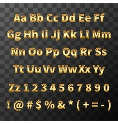 Glossy metal font golden letters and numbers on vector