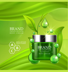 green cream bottle with silver cap and green vector image