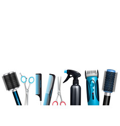 hairdresser tools background vector image vector image