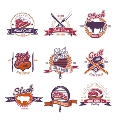 Hot grill steak emblems vector