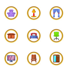 Indoor furniture icon set cartoon style vector