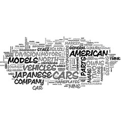 Japanese automakers text background word cloud vector