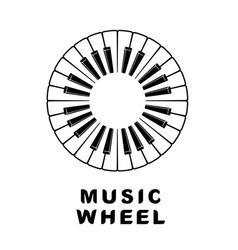 Music logo piano as wheel eye icon simple style vector