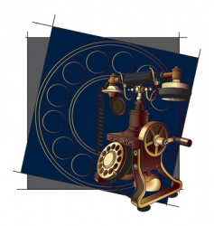 Old style telephone background vector