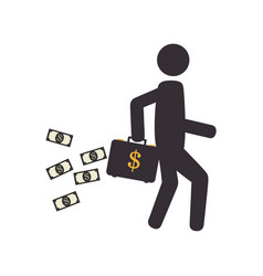 Pictogram silhouette man with bag and dollars vector