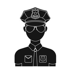 police officer icon in black style isolated on vector image