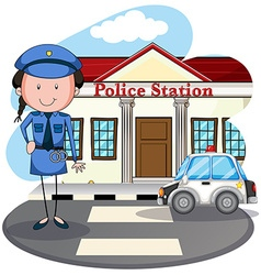 Policewoman working at police station vector