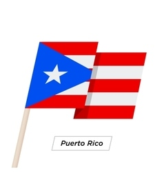 Puerto rico ribbon waving flag isolated on white vector