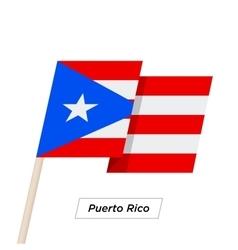 Puerto rico ribbon waving flag isolated on white vector