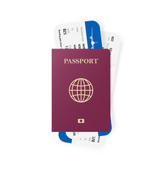 red passport and boarding pass tickets realistic vector image vector image