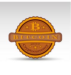 retro badge with bit coin symbol vector image