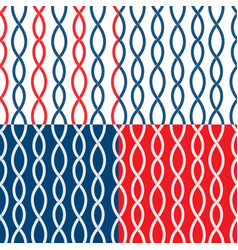set of seamless nautical patterns on blue red vector image vector image
