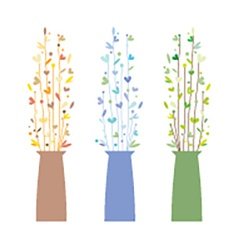 Set of Three Vases With Flowers vector image vector image