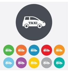 Taxi car sign icon Hatchback symbol vector image
