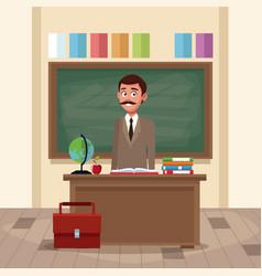 teacher in classroom cartoon vector image