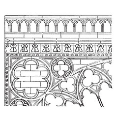 Transept carving transept of notre dame vintage vector