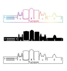 Tucson V2 skyline linear style with rainbow vector image vector image