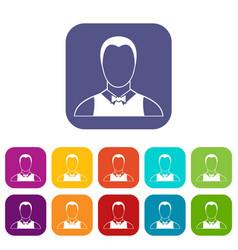 Waiter icons set vector