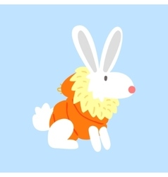 White polar rabbit in padded coat arctic animal vector