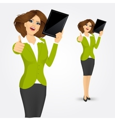 woman showing tablet screen vector image vector image