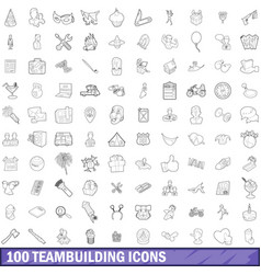 100 teambuilding icons set outline style vector