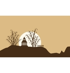 Scenery of pavilion with big moon silhouettes vector