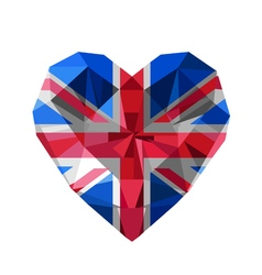 Crystal gem jewelry british heart with the flag of vector
