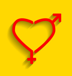 Gender signs in heart shape  red icon with vector