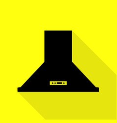 Exhaust hood kitchen ventilation sign black icon vector