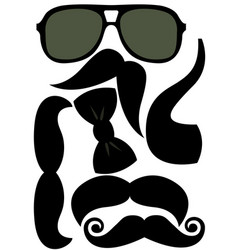 Party accessories man set - glasses mustache bow vector