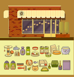 shop and set of cute colorful pet icon vector image