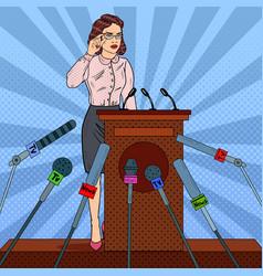 Pop art business woman on mass media interview vector