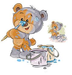 a brown teddy bear paints vector image