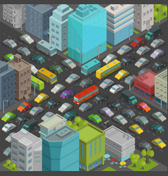 City street intersection traffic jams road vector