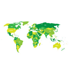 political map of world in green scheme with vector image