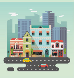 Town or city landscape with buildings vector