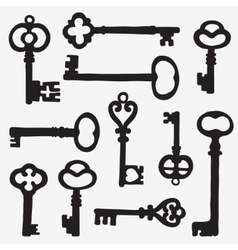 Keys silhouette composition vector