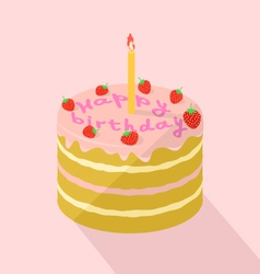 Holiday strawberry cake with a candle vector